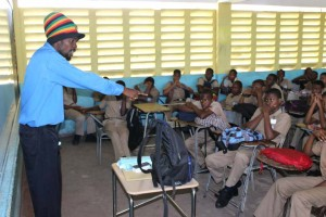 Daniel Barnes from Men with a Message engages students at    Bog Walk Hi...