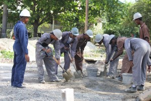 Participants on the CSJP-JDF On-the-job training prog    prepare materia...