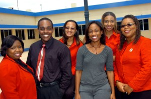 Lifestyle team l-r Keisha Shakespeare-Blackmore, Daviot Kelly, Sacha Walters, Barbara Ellington, (back row) Nashauna Drummond and Latoya Grindley