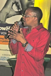 Doctor, writer, poet, Gleaner columnist Michael Abrahams in performance.