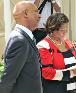 Phase Three Productions Executive Chairman Marcia Forbes with Governor General Sir Patrick Allen at King's House.