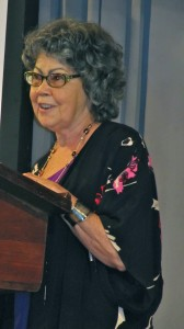 Ms. Olive Senior speaks at the Institute of Jamaica.
