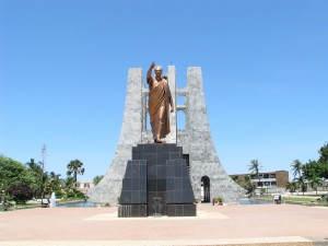 Dr. Kwame Nkrumah (1909 - 1972), the first President of Ghana, is now buried in this mausoleum in a Memorial Park in Accra. It is his third - and hopefully, last - resting place.