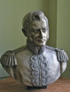 Bernardo O'Higgins, with his splendid sideburns and epaulettes, at King's House. (My photo)