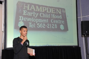 "Lloyd-Howard Smalling of the South Circle Optimist Club talks about his ""Project Hampden."" (Photo: JN Foundation)"