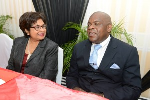 Digicel Foundation chair Jean Lowrie-Chin chats with Senator Floyd Morris at the Foundation's 10th Anniversary Special Needs Forum. (Photo: Digicel)