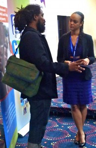 "Miguel ""Steppa"" Williams chats with Kimberley Issa Sherlock during the break."
