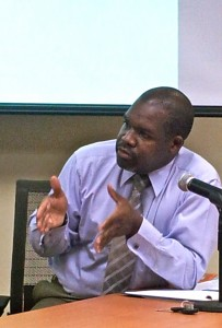Jerome Newton of Exim Bank also suggested a cultural change is needed among SMEs. (My photo)