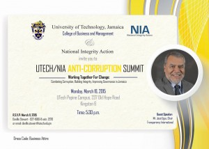 The Anti-Corruption Summit was a collaboration of UTech and NIA (which is now an official chapter of Transparency International).