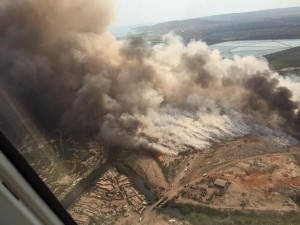 The raging fires at Riverton City last week. This aerial view was posted on Twitter by William Mahfood.