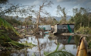 "Cyclone Pam in March destroyed almost every building on the Pacific island of Vanuatu. Chair of AOSIS Ahmed Sareer noted: ""Up to 70% of disasters may now be climate-related…Human induced climate change has resulted in an increase in intensity and frequency of disasters."" (Photo: AOSIS website)"