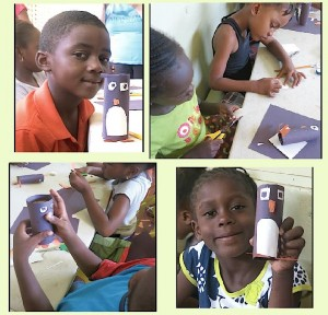 The children of Trench Town Reading Centre with their creations at last year's summer camp.