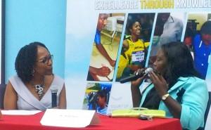 Keisha Hayle in conversation with Professor Rosalea Hamilton. (My photo)