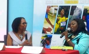Professor Rosalea Hamilton (left) in conversation with Keisha Hayle, Principal of Padmore Primary School. (My photo)