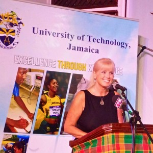 USAID Jamaica's Director Dr. Denise Herbol called up some vivid memories of her first service as a U.S. Peace Corps Volunteer in Zaire (now the Democratic Republic of Congo) - sleeping in an old mission house with unidentified wild animals in the attic! (My photo)