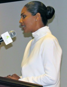 "Minister Lisa Hanna: Leaders have to ""dig deep"" into their courage. (My photo)"
