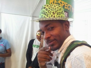 Kriativ Aktivis Randy McLaren strikes a pose in a funny hat at a Respect Jamaica event in December. (My photo)