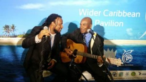 Singers Aaron Silk of Jamaica (left) and Adrian Martinez of Belize perform at the Caribbean Pavilion. (Photo: Panos Caribbean)