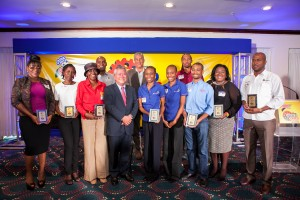 Butch Hendrickson, Chairman of Continental Baking (fourth right) shares a happy moment with (front row, from left) Antoinette Davis, Managing Director of Ettenio, Hellen French, CEO of Cold Bush Organics Limited, June Gottens, CEO of Umium Limited, Marie and Maria Wilson, Managing Directors of DeJa Fruit, Richard Harris, Managing Director of Shavuot International Holdings Company Limited, Allison Turner, CEO of Tuner Innovations Limited, Garfield Spence, CEO of Tritronic Electronics Limited and (from left, back row): Averelle French, Cold Bush Organics, Steven Sykes, Director of Operations, National Bakery, and Oral Turner, Inventor at Turner Innovations Limited. The group was photographed at the Press Announcement of the 2016 Bold Ones who were honoured by National Baking Company on Wednesday, March 16 at the Jamaica Pegasus.  This marked the fourth selection of Jamaica entrepreneurs to be recognized as National Baking Company's New Champions of Manufacturing. (Photo: ProComm)