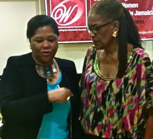 Dr. Marcia Forbes (left) and Dr. Blossom O'Meally Nelson in deep discussion. (My photo)