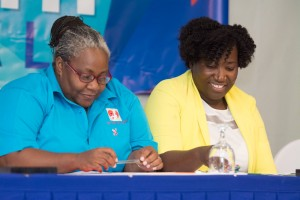 Two women who are doing incredible work in the field of HIV/AIDS: Program Manager at Eve for Life Joy Crawford (left) and Kandasi Levermore, Executive Director of Jamaica AIDS Support for Life. (Photo: JYAN/Facebook)