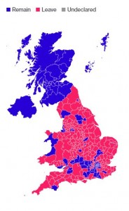 "The map says it all: The purple are ""remain"" votes, the pink are ""leave."""