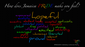 """How does Jamaica PRIDE make you feel?"" A lot of inappropriate words here, in particular the word ""hopeful."" (Pic from Facebook)"