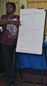A trainee explains his concept of mentorship. (My photo)