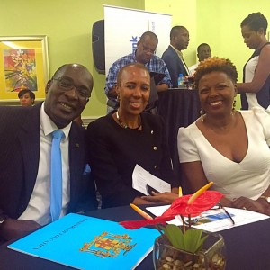 Cecile Watson (right) with Minister of Education, Information and Youth Ruel Reid and Minister of State in the Ministry of Finance and Planning Fayval Williams, at the launch of FundRiseHER in Kingston on July 29. (Photo: Facebook)