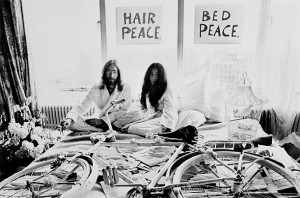"John and Yoko Lennon's ""love and peace"" campaign was curious, amusing, slightly tongue in cheek but serious and very effective."