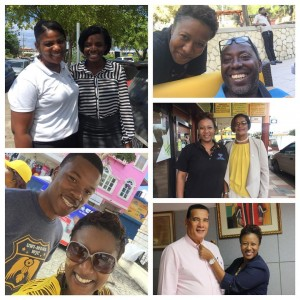Shauna busy making new friends in Montego Bay - including the Mayor (bottom right)!