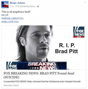 "Celebrity deaths are common fake news. This looked like a Fox News report but it was a hoax. Moreover, it was also a ""phishing"" scam - so be VERY careful! Clicking on phoney websites can get you into trouble."