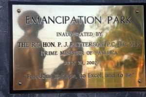 The plaque in Emancipation Park, Kingston.