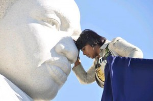 Bernice King, CEO of the King Center at the statue of Dr. King in Washington, DC.