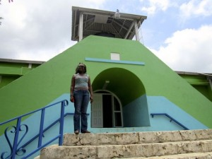 Village Director Marcia Brown on the steps at Stony Hill SOS Village. (My photo)