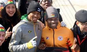 Jamaica's Anthony Watson (left) and Ghana's Akwasi Frimpong at the Winter Olympics. (Photo: Asahi Shimbun)