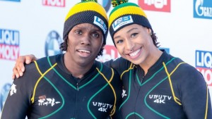 Carrie Russell (left) and Jazmine Fenlator-Victorian, the Jamaican bobsled team.  (Photo: Rex Features)