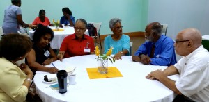CCRP Founder Jean Cowrie-Chin (far left) meeting with Central Jamaica Chapter's new executive and resource persons.  (My photo).