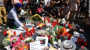 A makeshift memorial to those who died in a terrorist attack in Barcelona, Spain last August.