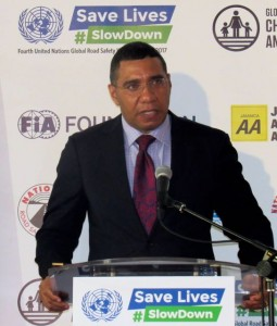 Prime Minister Andrew Holness speaking at the road safety event in May, 2017. Slow down! (My photo)