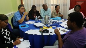 Dr. Andre Kong of the Fisheries Division (2nd left) at a recent FAO discussion. He is very worried about illegal, unreported and unregulated fishing in Jamaica's coastal waters. (My photo)