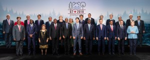 "What G7 Canada calls the ""G7 family photo,"" including outreach leaders, at Charlevoix, Canada after the meeting. One family member is missing. (Photo: G7 Canada)"