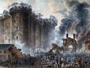 The Storming of the Bastille  in 1789. Since 1880, grand military parades have marked the event.