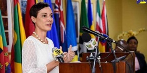 Our super Minister of Foreign Affairs and Foreign Trade Kamina Johnson Smith, one of the very few women whose voice was heard at a microphone at the CARICOM Conference. (Photo: CARICOM)