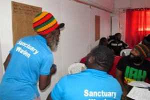 Wardens from the White River Fish Sanctuary working with artistes at the Voices for Climate Change workshop in Ocho Rios last week. (My photo)