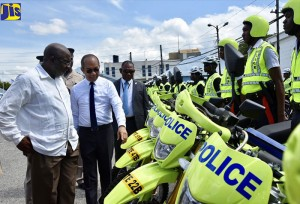 "National Security Minister Horace Chang and Opposition Security Spokesman Fitz Jackson inspect some ""high-vis"" green PSTEB members on August 29, 2018. (Photo: Michael Sloley)"