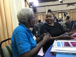 Co-founder of WROC Ms. Linnette Vassell (left) in conversation with Ms. Maureen Golding, Regional Director, South East Regional Health Authority, who spent some time at the meeting. (My photo)
