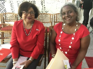 "Two warm-hearted ""Ladies in Red"": (l) Digicel Foundation Chair Jean Lowrie-Chin and CEO Karlene Dawson. (My photo)"