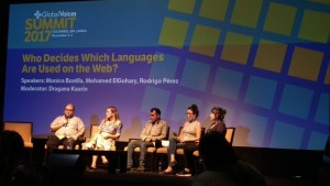 """Who Decides Which Languages Are Used on the Web?"" Panel at the Public GV Summit 2017. Photo courtesy of Gwenaëlle Lefeuvre."