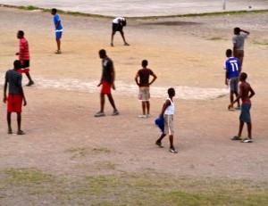 Evening football at Port Royal. (My photo)